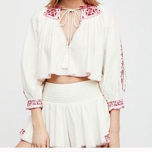 Free People Embroidered Red @ Pink Peasant Set